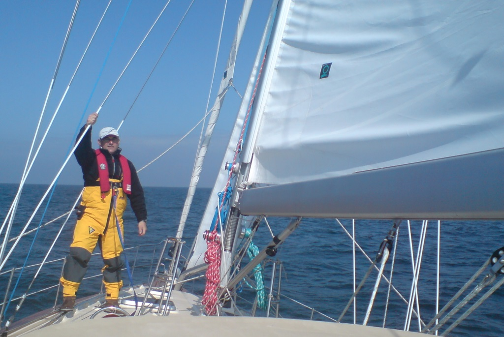 Jonathan Paull at bow during his voyage across the Atlantic to raise money for a Mother's Milk Room at Shaare Zedek's NICU in his mother's memory.