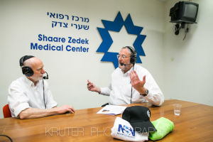 Dr. Shalom Strano, head of the breast cancer imaging unit, with Nachum Segal at Shaare Zedek Medical Center on February 10, 2016