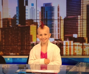 "Mikayla was Diagnosed in 2014 with Medullablastoma, a cancer of the brain and spine. She is currently in remission though suffers from other ailments due to her treatment. Mikayla's hair is pictured as it has grown in since after her radiation and chemotherapy treatments. In Mikayla's honor, Brandon Schwartz will take a knee at the starting line of the IRONMAN Lake Placid on July 24, in which he is competing on behalf of Team Shaare Zedek, and he will wear a wristband with her initials throughout the race. Brandon said, ""If I can become an IRONMAN, Mikayla can beat Cancer!"""